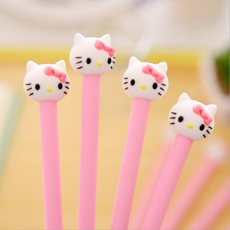 1 Pieces hello Korean stationery cartoon cute kitty pen advertising pink gilrs gel pen School Fashion Office kawaii supply - 10MINUS: Online Shopping Destination with High-Quality