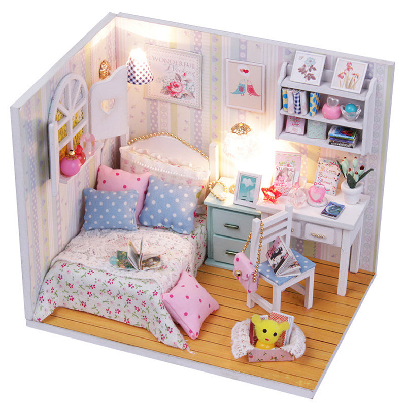 1 Set 2017 DIY 3D Wooden Doll House Mini Furniture Kits With LED Children Kids Handmade Cover Girls Birthday Gift Dream Room - 10MINUS: Online Shopping Destination with High-Quality