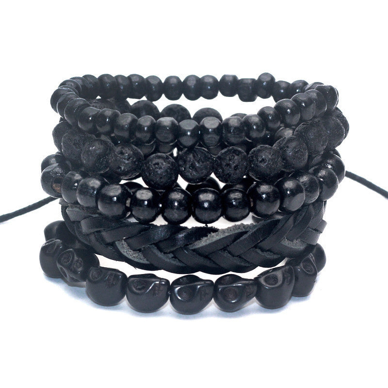1 Set 4-5 pcs Black Out Bamboo wood, Lava Stone Beads Stone Skull and Pull-Closure Leather Bracelet Men's Fashion Bracelet Pack - 10MINUS: Online Shopping Destination with High-Quality