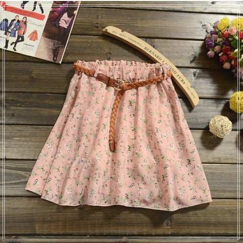 2016 NEW  skirt women 26 Colors Pleated Floral Chiffon Women Ladies Mini Skirt Belt Include - 10MINUS: Online Shopping Destination with High-Quality