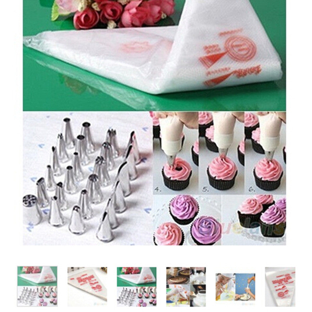 100 PCS Baking Decorating Bag For Baking Cake Tool Disposable Piping Bag Icing Nozzle Fondant Cake Decorating Pastry Tips Tools - 10MINUS: Online Shopping Destination with High-Quality