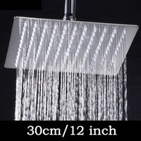 4/6/8/10/12 inch Stainless Steel Rainfall Shower Head Bathroom Square/round Showerhead Faucet Accessory - Best price in 10minus
