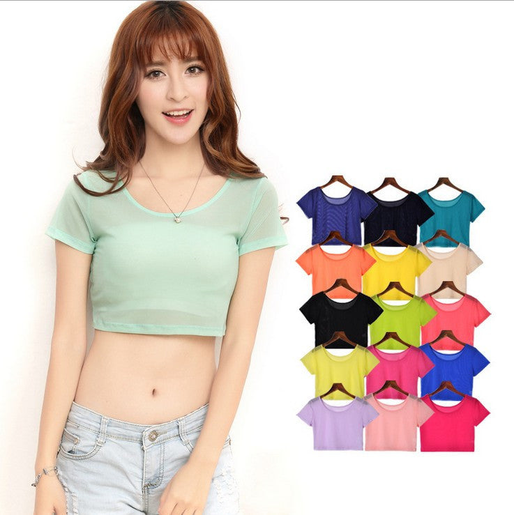 14 Colors Women Semi-transparent Mesh Crop Tops Girl Short Sleeve T Shirts Large Elastic Tees - 10MINUS: Online Shopping Destination with High-Quality