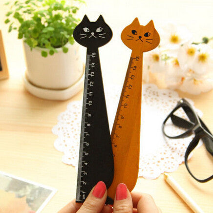 15cm Lovely Cat Shape Ruler Cute Wood Animal Straight Ruler Gift For Kids School Supplies Stationery Black Yellow 1 PC - 10MINUS: Online Shopping Destination with High-Quality
