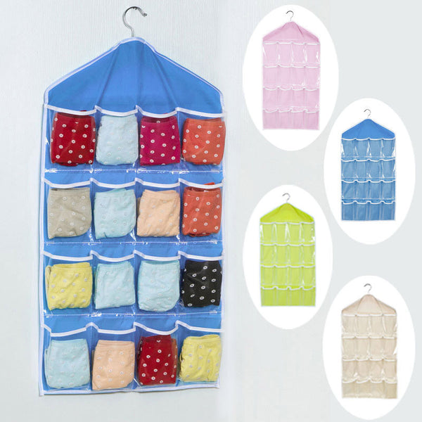 16 Pockets Foldable Wardrobe Hanging Bags Socks Briefs Organizer Clothing Hanger Closet Shoes Underpants Storage Bag - Best price in 10minus