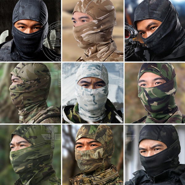 18 Style Tight Multicam Camouflage Balaclava Tactical Airsoft Paintball Motorcycle Bicycle Army Helmet Protection Full Face Mask - Best price in 10minus