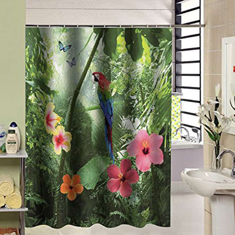 180 x 210cm New Arrival Waterproof Fabric Parrot Design 3D Shower Curtain Bathroom Nature Bath Curtain - Best price in 10minus