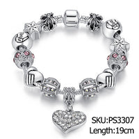 Luxury Brand Women Bracelet Silver Plated Crystal Charm Bracelet for Women DIY Beads Bracelets & Bangles Jewelry Gift PS3307 - 10MINUS: Online Shopping Destination with High-Quality