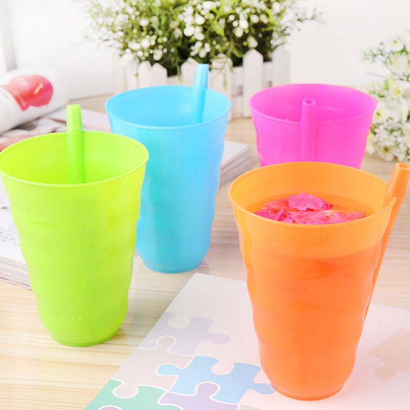 1Pc/4Pcs Creative Toddler Kids Training Cup Plastic Juice Drinking Mug Tumbler with Straw Fpr Easy Drinking Tools 4 Colors - 10MINUS: Online Shopping Destination with High-Quality