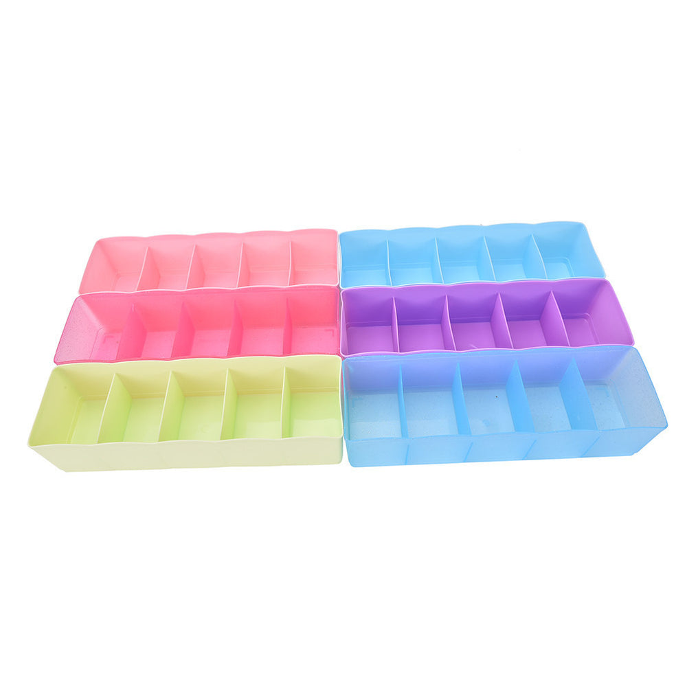 1PC 6 Colors Multi-function Desktop Drawer Clothing Storage Box Five Grid Storage Box Underwear Socks Bra Ties Organizer - 10MINUS: Online Shopping Destination with High-Quality