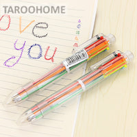 1pc Transparent 6 - color Ballpoint Pen Creative Multi - color Ball Pen Multi - functional Office Stationery Supplies - 10MINUS: Online Shopping Destination with High-Quality