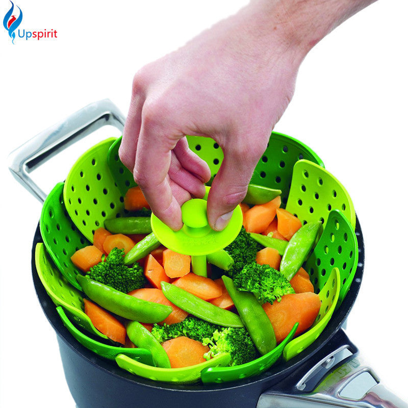 1Pcs Cookware Folding Scalable Steamer Basket Silicone Cooking Tools Vegetable Steaming Rack Egg Fruit Basket Desktop Decoration - 10MINUS: Online Shopping Destination with High-Quality