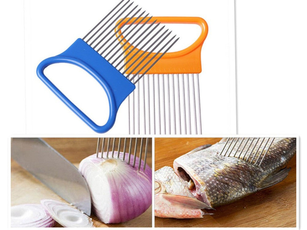 1pcs Plastic Vegetable Slicer Tomato Cutter Metal Meat Needle Gadgets Meat Frok +Easy Cut Onion Holder Fork Stainless Steel - Best price in 10minus
