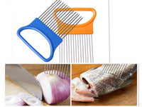 1pcs Plastic Vegetable Slicer Tomato Cutter Metal Meat Needle Gadgets Meat Frok +Easy Cut Onion Holder Fork Stainless Steel - 10MINUS: Online Shopping Destination with High-Quality