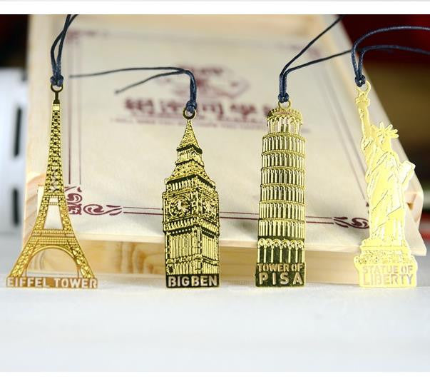 (1Pcs/Sell) World Architecture Christmas Gift Metal Bookmarks Delicate For Book Creative Item Kids Gift Korean Stationery New - 10MINUS: Online Shopping Destination with High-Quality