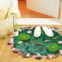 1x 60*90cm Waterproof Anti-slip Lotus Goldfish Pattern DIY 3D Wall Stickers Bathroom Living Room Floor Decals Home Decor - 10MINUS: Online Shopping Destination with High-Quality