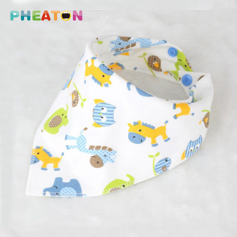 1Pcs Double Layers Cartoon Baby Bibs Babero Baby Bandana Bibs Burp Cloths Newborn Triangle Scarf Cartton Animal Baby Bib - 10MINUS: Online Shopping Destination with High-Quality