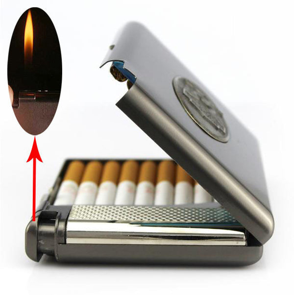 (20 cigarette) Men's vintage metal cigarette case with butane gas lighter,Lnflatable windproof  lighter,smoking cigarette box - 10MINUS: Online Shopping Destination with High-Quality
