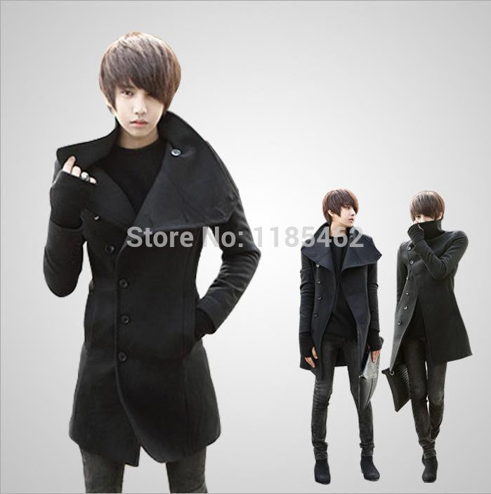 2014 New Winter mens long coat Men's wool Coat Turn down Collar sing Breasted men trench coat 49 - 10MINUS: Online Shopping Destination with High-Quality