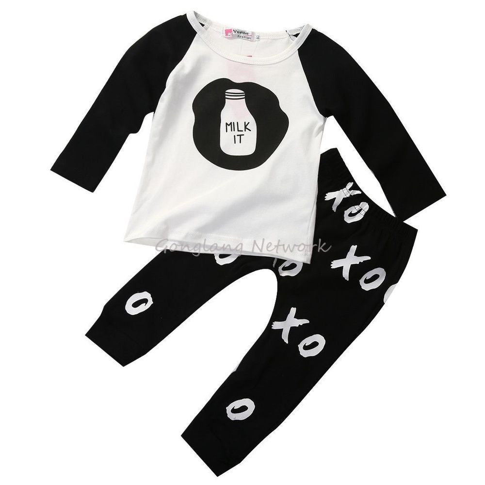 2015 Autumn Cartoon Elephant Cat Baby Clothing Set ( Milk Long Sleeve Tops + Pants ) Baby Boy Girl Clothes - Best price in 10minus