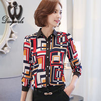 2016 autumn New large size Women Tops Hit color Chiffon shirt Printing long-sleeved shirt Fashion Women blouse - 10MINUS: Online Shopping Destination with High-Quality