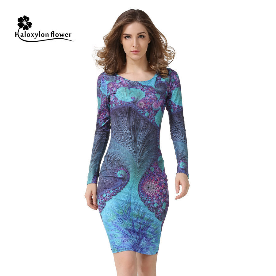 2016 Autumn Robe Fashion Women Vintage Print Casual Round Neck package hip sexy Club Dress Sheath Bodycon Long Sleeve Dresses - 10MINUS: Online Shopping Destination with High-Quality