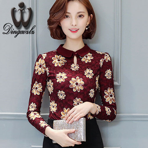 2016 Autumn Winter Slim Printing shirt Plus size lace Tops Elegant Ladies Blouse Hollow out Long sleeve Women Floral shirt - 10MINUS: Online Shopping Destination with High-Quality