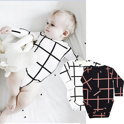 2016 Baby Kids Boy Girls Romper Jumpsuit Casual Long Sleeve plaid romper jumpsuit Clothes Set - 10MINUS: Online Shopping Destination with High-Quality