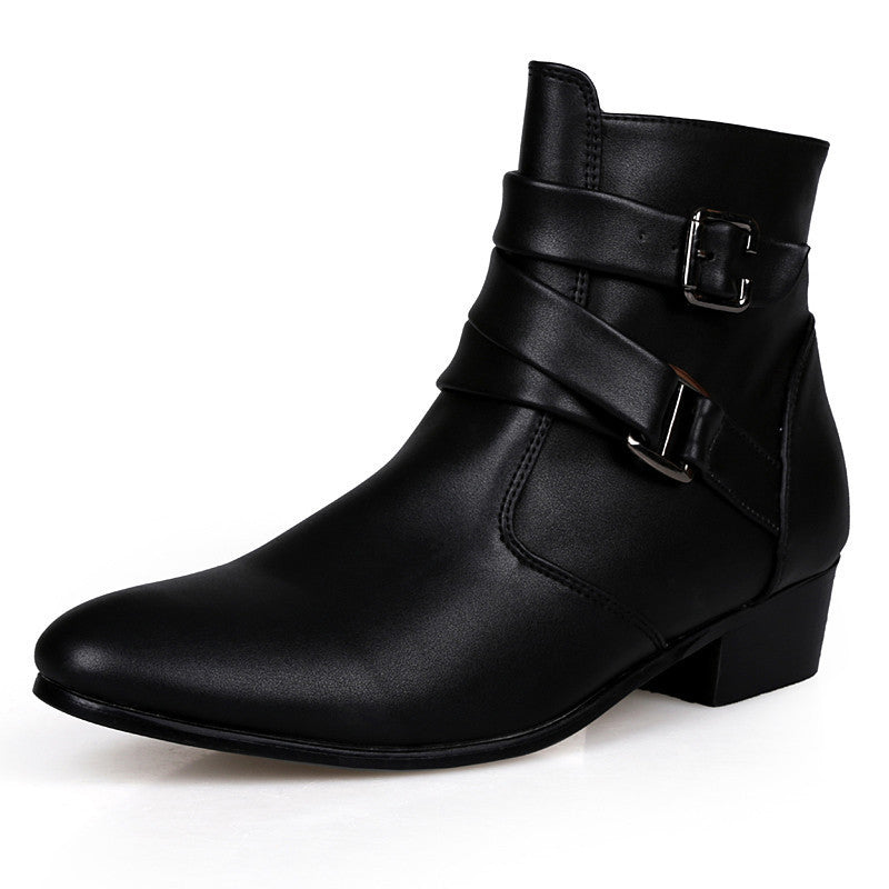 2016 Fashion Ankle Boots Men Suede Heel Genuine Leather Martin boots Waterproof Warm Point Toe Winter Boots Men Shoes High Heels - 10MINUS: Online Shopping Destination with High-Quality
