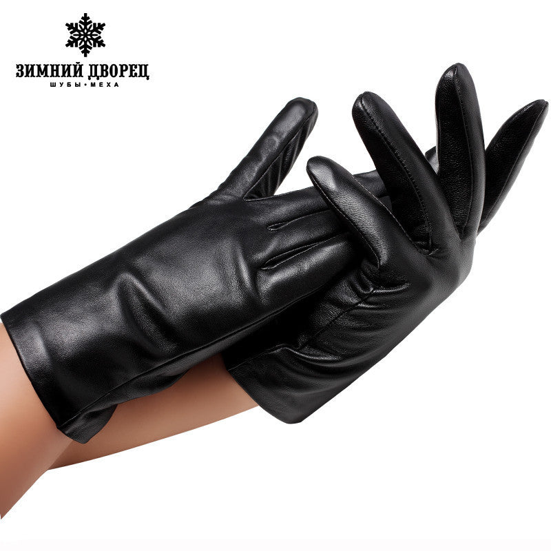 2016 fashion leather men's leather gloves sheepskin gloves winter warm gloves black minimalist style men's leather gloves - 10MINUS: Online Shopping Destination with High-Quality