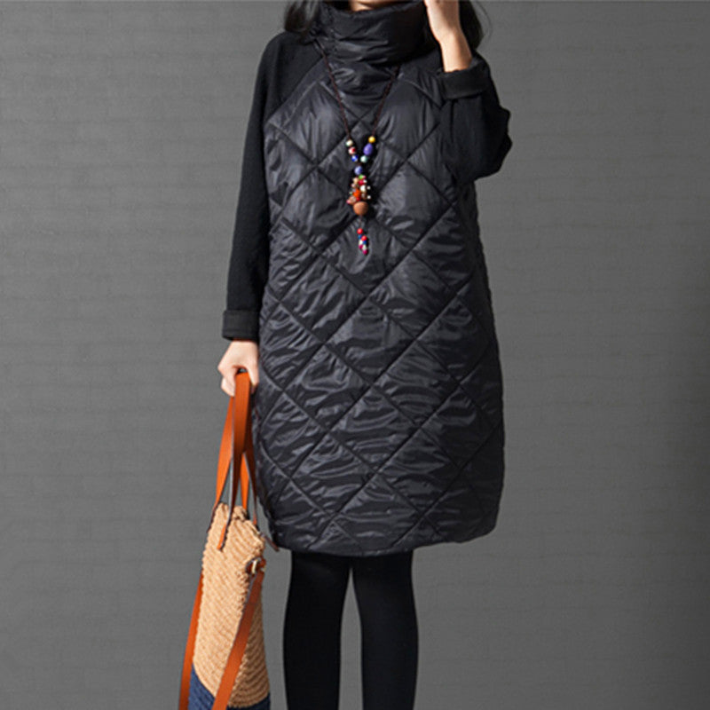 2016 Fashion Spring Autumn Loose Straight Dress Patchwork Black Gray Ropa Mujer Turtleneck Female Vestidos Tunic Loose Dresses - 10MINUS: Online Shopping Destination with High-Quality