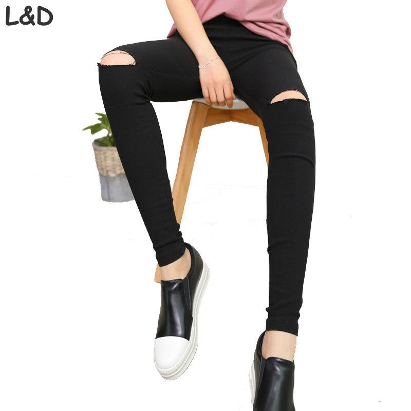 2016 High Elastic imitate Skinny Jeans Womens High Waist Torn Jeans Ripped Hole Knee Skinny Pencil Pants Slim Capris For Women - 10MINUS: Online Shopping Destination with High-Quality