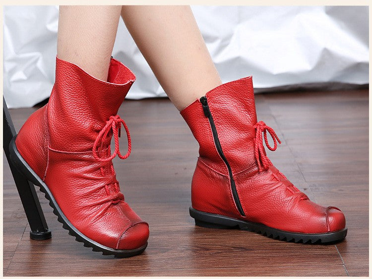 2016 High Quality Mujer Chaussure Women Genuine Leather Boots Casual Ladies Martin Shoes Winter Flat Boots Push large size - 10MINUS: Online Shopping Destination with High-Quality