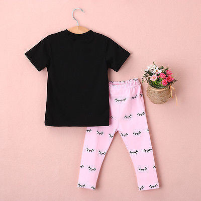 2016 Kids Baby Girls summer clothes set 2pcs suit Lips Tops and eyelash Pink Pant  children's clothing sets - 10MINUS: Online Shopping Destination with High-Quality
