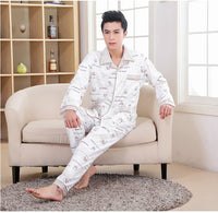 2016 Modern Spring Autumn Winter Men 100% Cotton Pyjamas Sets of Sleepshirt & Pants Adult Nightwear & Home clothes Plus Size 4XL - 10MINUS: Online Shopping Destination with High-Quality