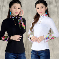 2016 new arrival Chinese Style Shirt Spring  Long Sleeve Shirt top blouse Support ethnic Black White embroidered Collar 585H 25 - 10MINUS: Online Shopping Destination with High-Quality