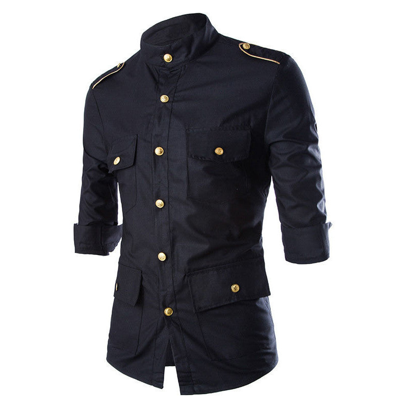 2016 New Arrival Mens Casual Cotton Slim Fit Shirts Military Uniform Style Three Quarter Sleeve Shirt Camisa Masculina 13M0332 - 10MINUS: Online Shopping Destination with High-Quality