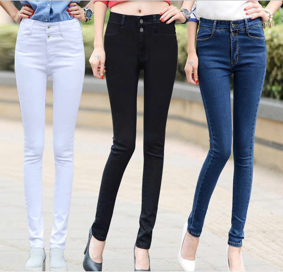 2016 new arrivals White high waist women jeans female trousers Korean slim pencil pants stretch pants Denim Pants Trousers - 10MINUS: Online Shopping Destination with High-Quality