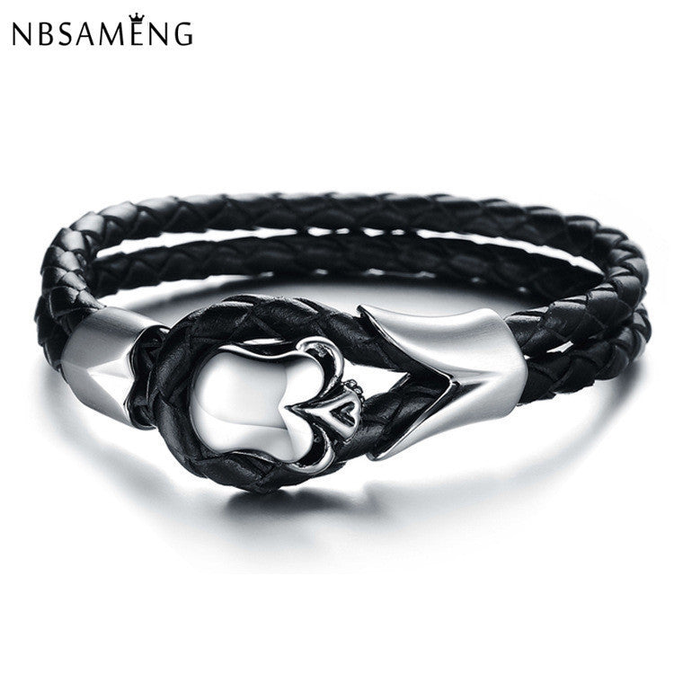 10 MINUS 2016 New Fashion Jewelry Punk Skull Stainless Steel Bracelet Pulseras Men Black Genuine Leather Bracelets & Bangles YK2013 2016 New Fashion Jewelry Punk Skull Stainless Steel Bracelet Pulseras Men Black Genuine Leather Bracelets & Bangles YK2013 2016 New Fashion Jewelry Punk Skull Stainless Steel Bracelet Pulseras Men Black Genuine Leather Bracelets & Bangles YK2013