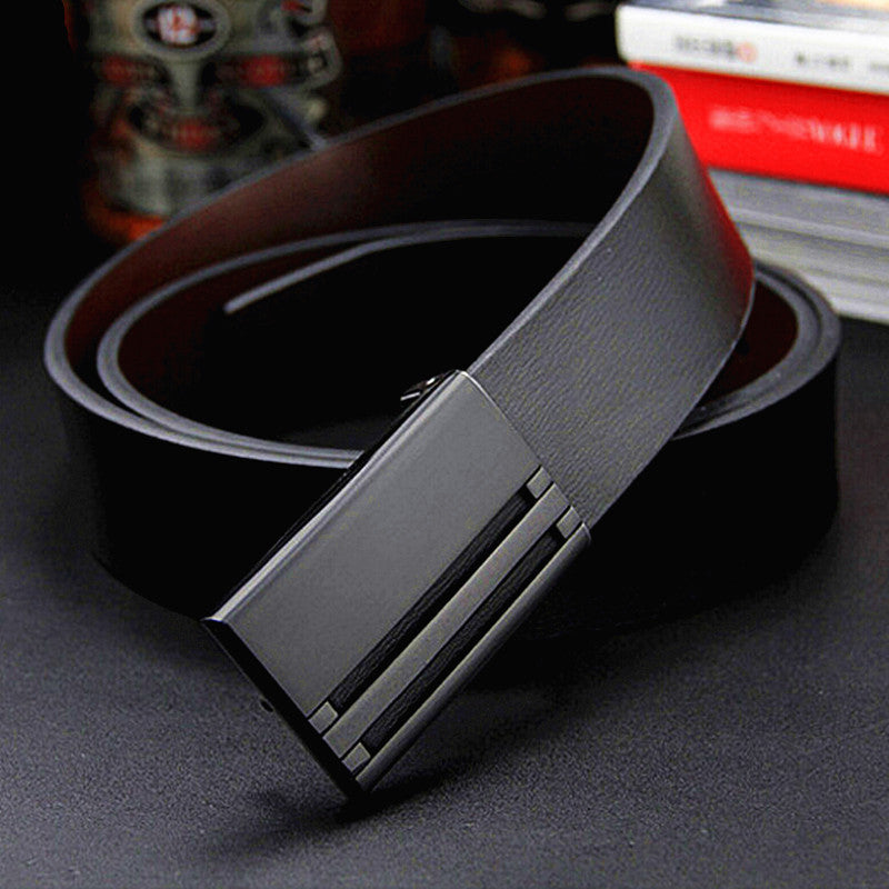 2016 New men's genuine leather belt men cowskin belt formal suit trousers belt double metal buckle starp gift for men belts - 10MINUS: Online Shopping Destination with High-Quality