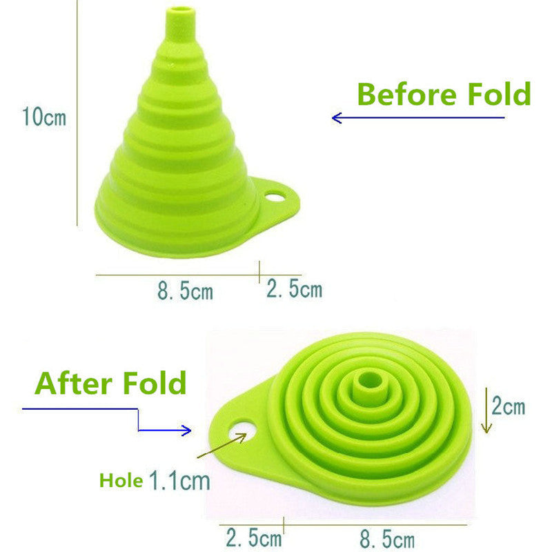 2016 New mini Silicone Gel Foldable Collapsible Style Funnel Hopper Kitchen cozinha cooking tools Accessories gadgets outdoor - 10MINUS: Online Shopping Destination with High-Quality