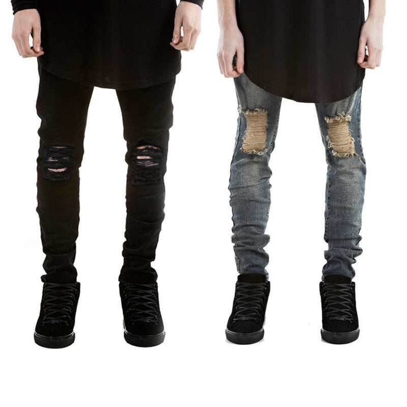2016 Ripped Jeans Men Destroyed Denim Jeans With Holes Denim Skinny Slim flexible Jean Scratched Biker Jeans Elastic pants - 10MINUS: Online Shopping Destination with High-Quality