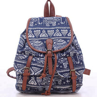 2017 Vintage Elephant Print Backpacks Drawstring Canvas Backpack Mochila escolares femininas Girl Schoolbag Travel Rucksack L834 - 10MINUS: Online Shopping Destination with High-Quality
