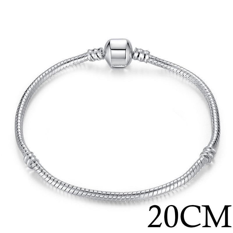 5 Style Silver Plated LOVE Snake Chain Bracelet & Bangle 16CM-21CM Pulseras Lobster PA1104 - Best price in 10minus