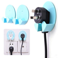 2X Power Plug Socket Jack Hook Rack Holder Hanger Home Wall Decor Organizer - Best price in 10minus