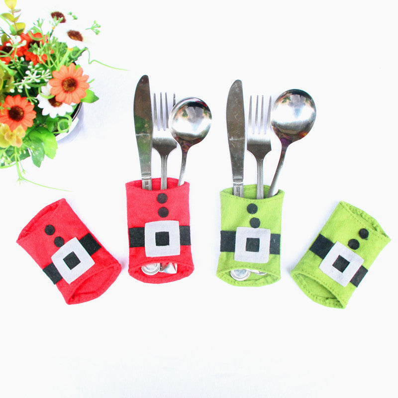 4Pcs/Set Christmas  Cutlery Bag Candy Gift Bag Cute Pocket Fork And Knife Holder Table Dinner Decoration Santa Claus Pocket - Best price in 10minus