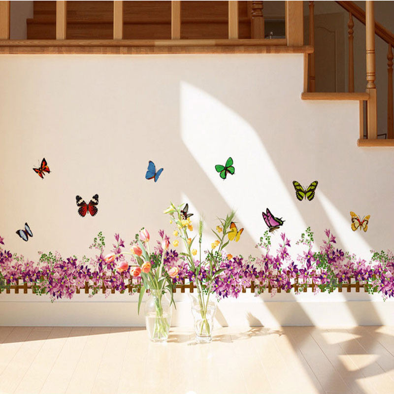 50 * 35 Trumpet Foot Line Purple Fence Color Butterfly Wall Sticker Aisle Corridor Corner Stickers Pegatinas De Pared Home Decor - Best price in 10minus
