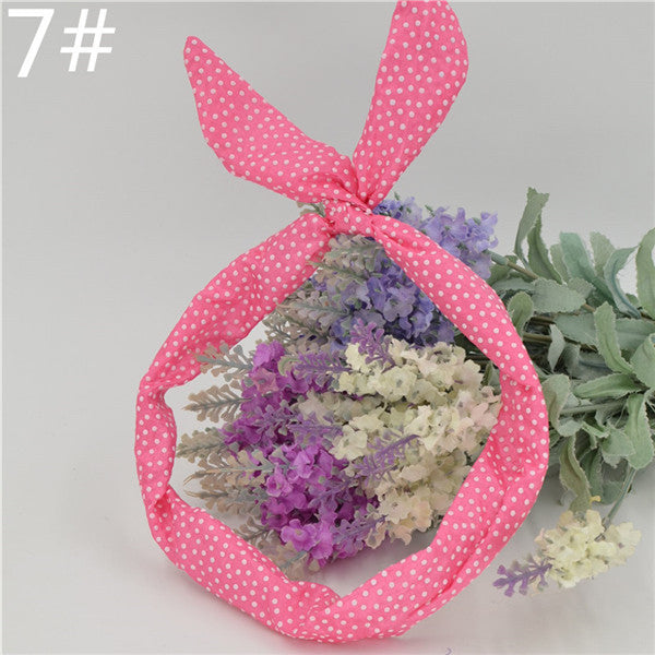 1Pc Cute Leopard Dots lip print flower Bunny Rabbit Ear Ribbon Headwear Hairband Metal Wire Scarf Headband Hair Band Accessories - 10MINUS: Online Shopping Destination with High-Quality