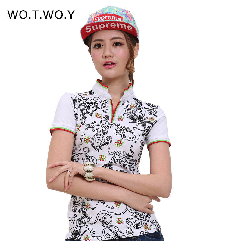 2016 High Quality Polo Raph Women Fashion Print Shirt Cotton Slim Women Polo Shirt Plus Size Brand Polo Femme 7058 - 10MINUS: Online Shopping Destination with High-Quality