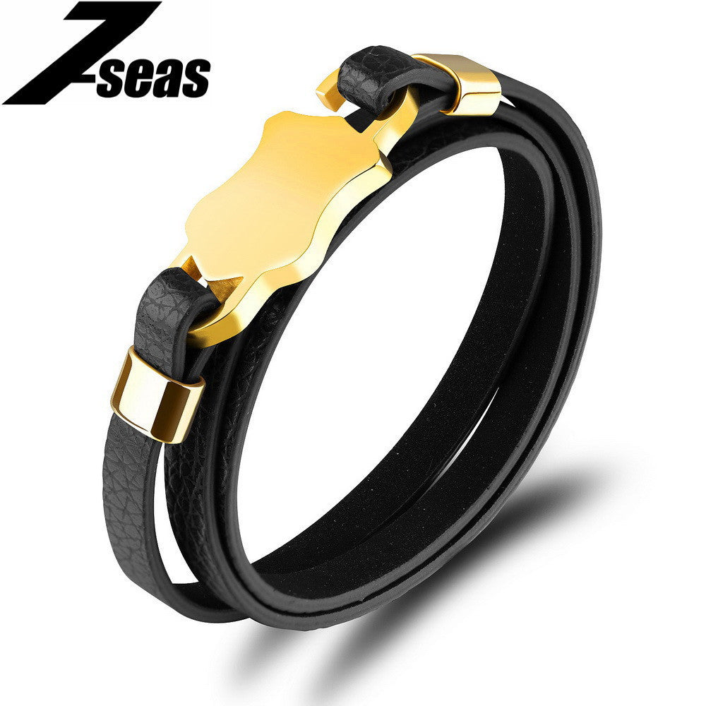 7SEAS Men Jewelry Smooth Stainless Steel Bracelet Fashion Multilayer Wrap Leather Men Bracelets & Bangles Lovers Gift,JM1107P - Best price in 10minus